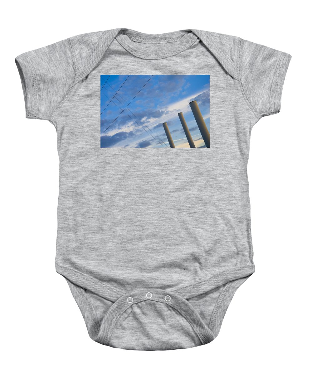 Blue Baby Onesie featuring the photograph Smoke Stax by Skip Hunt