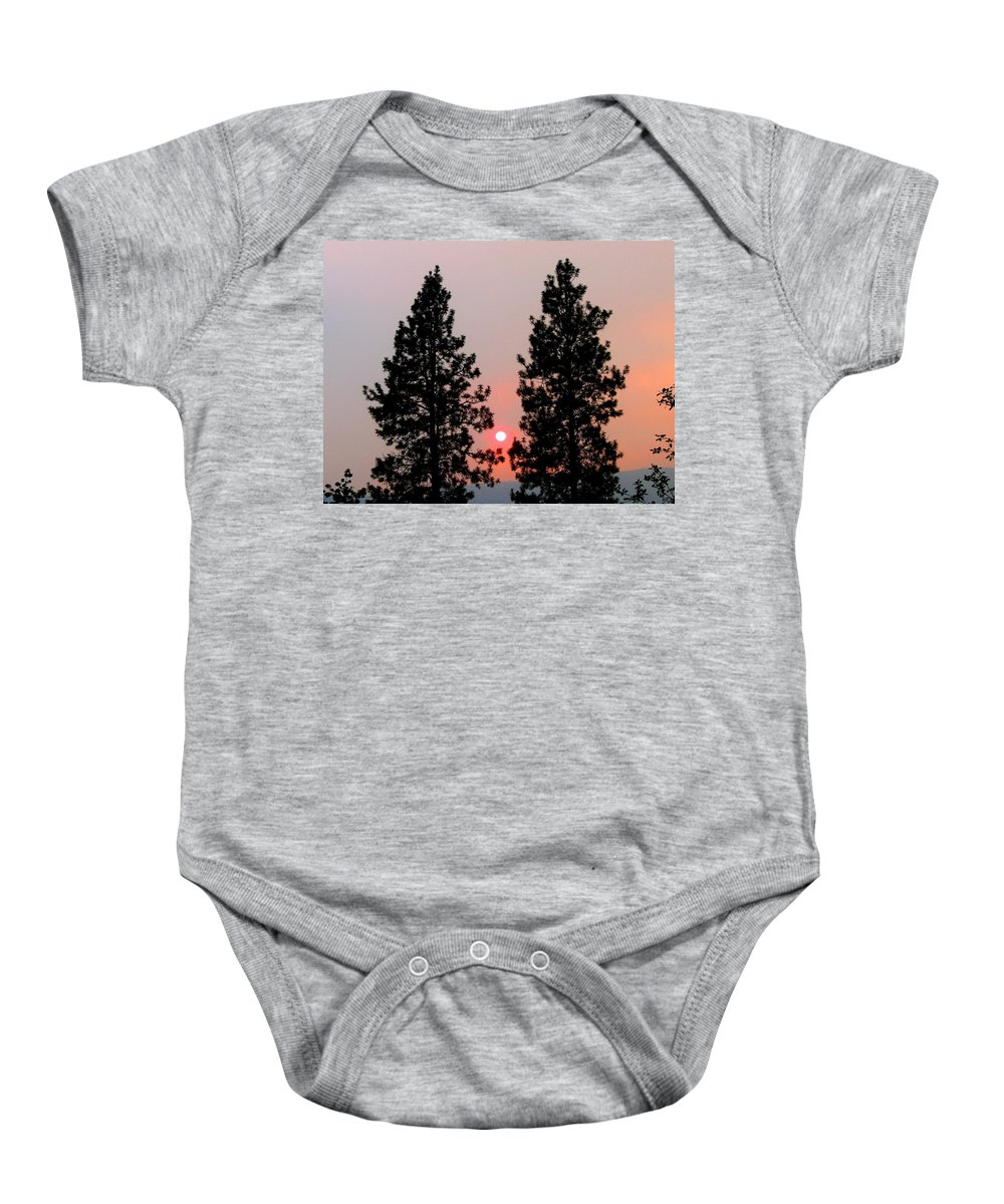 Smoke Baby Onesie featuring the photograph Smokey Okanagan Sunset by Will Borden
