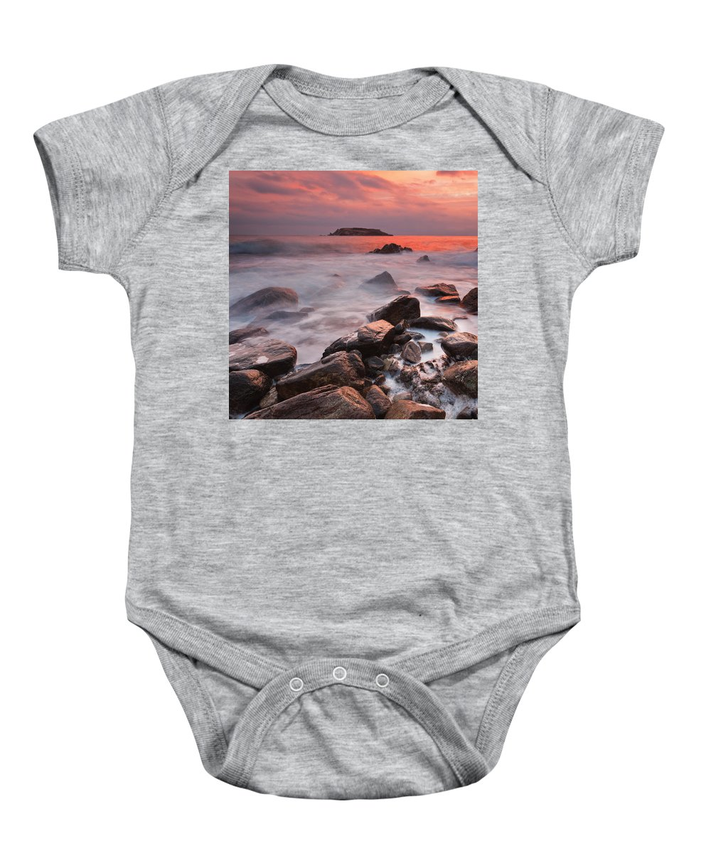 Dawn Baby Onesie featuring the photograph Snake's Island by Evgeni Dinev