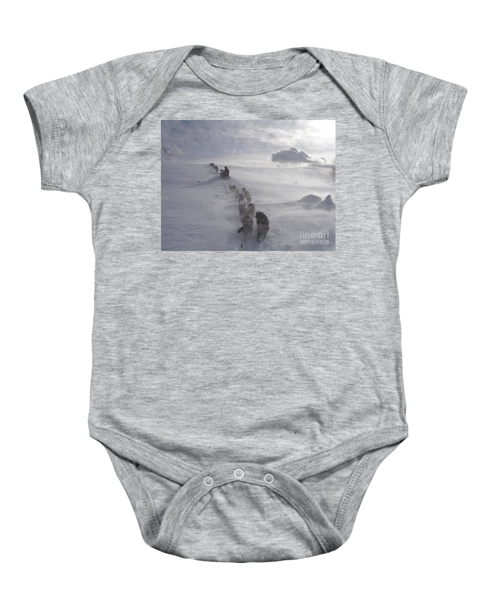 Landscape Baby Onesie featuring the photograph Snow And Clouds by Sarah Bevard