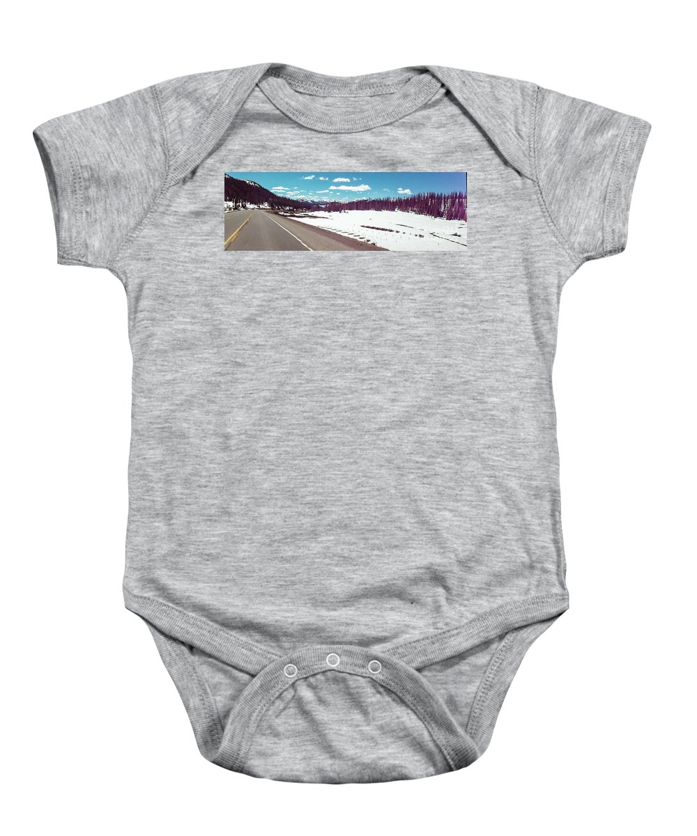Snow Baby Onesie featuring the photograph Snow And The Open Road by George Lehmann