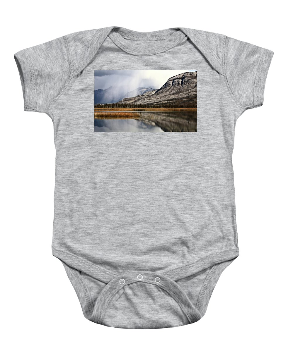 Rocky Mountains Baby Onesie featuring the digital art Snow Clouds In The Rocky Mountains Of Alberta by Mark Duffy