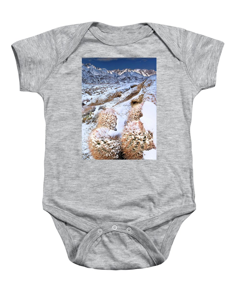 North America Baby Onesie featuring the photograph Snow Covered Cactus Below Mount Whitney Eastern Sierras by Dave Welling