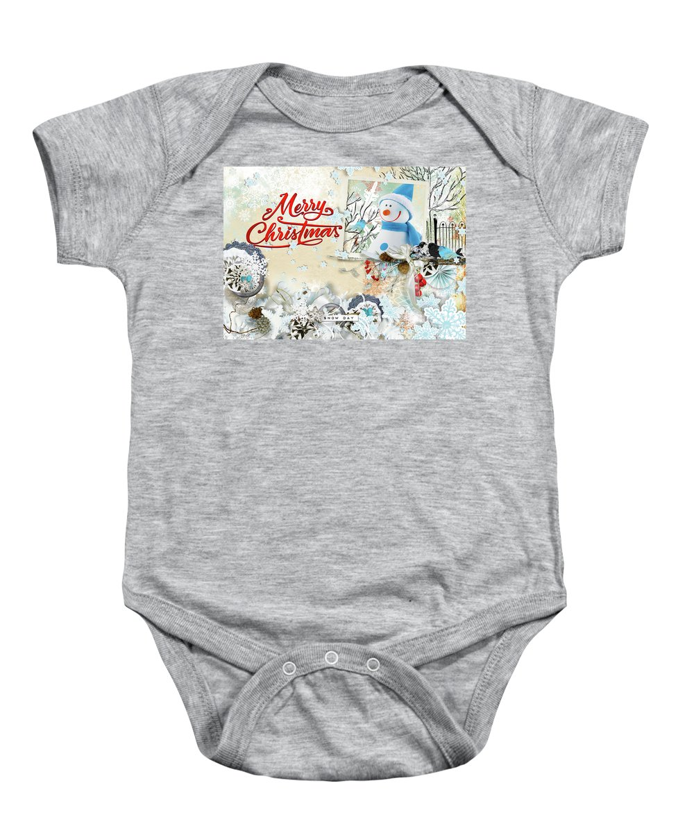 Snow Day Baby Onesie featuring the digital art Snow Day Christmas Card by Olga Hamilton