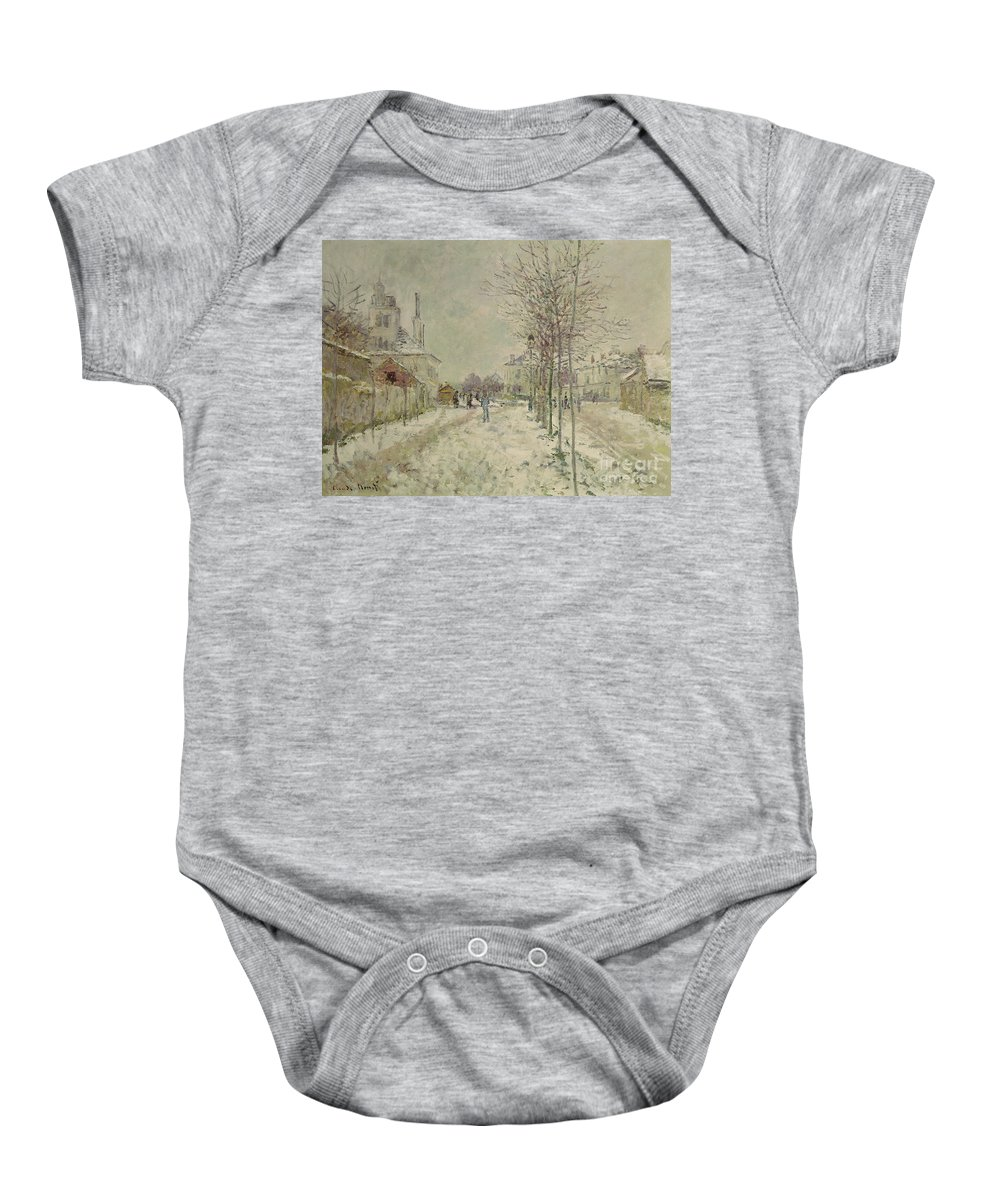 Snow Effect Baby Onesie featuring the painting Snow Effect by Claude Monet