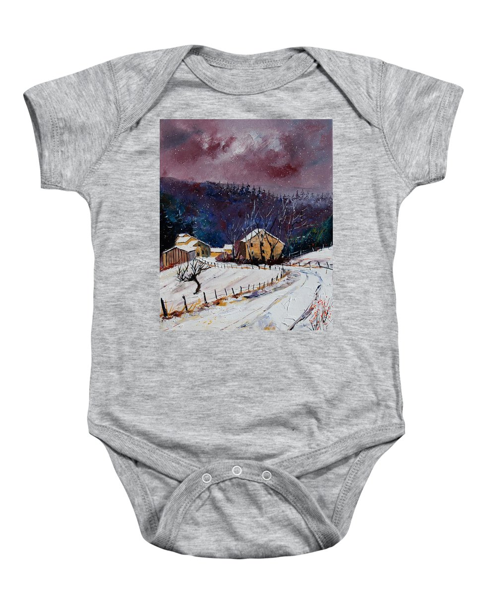 Landscape Baby Onesie featuring the painting Snow In Sechery by Pol Ledent
