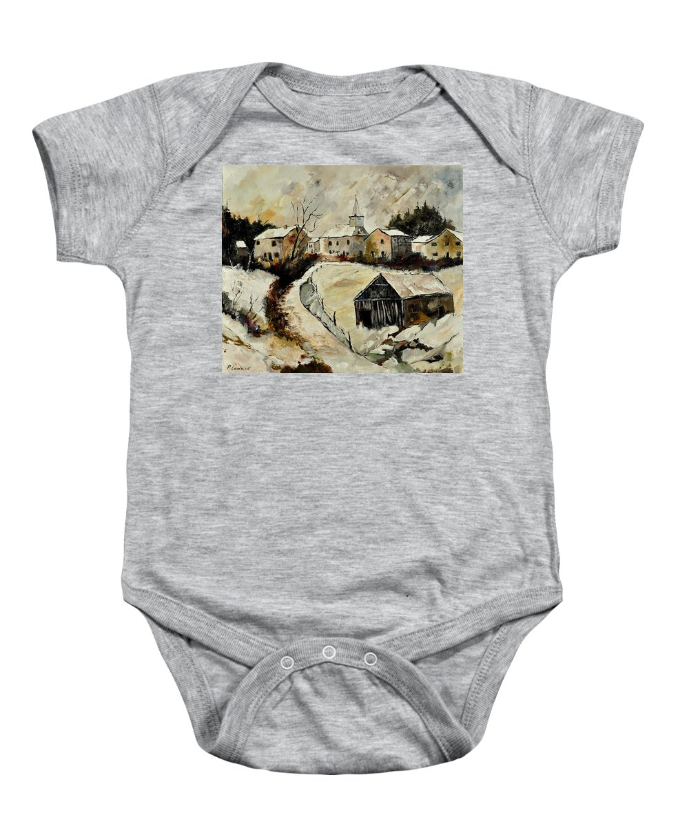 Snow Baby Onesie featuring the painting Snow In Sensenruth by Pol Ledent