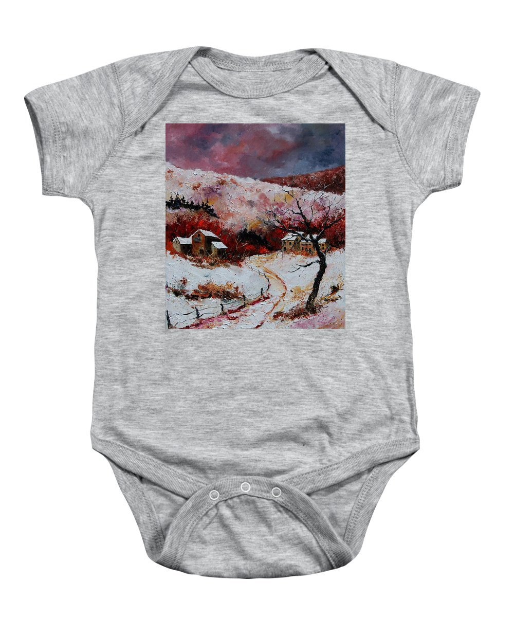 Snow Baby Onesie featuring the painting Snow In The Ardennes 78 by Pol Ledent