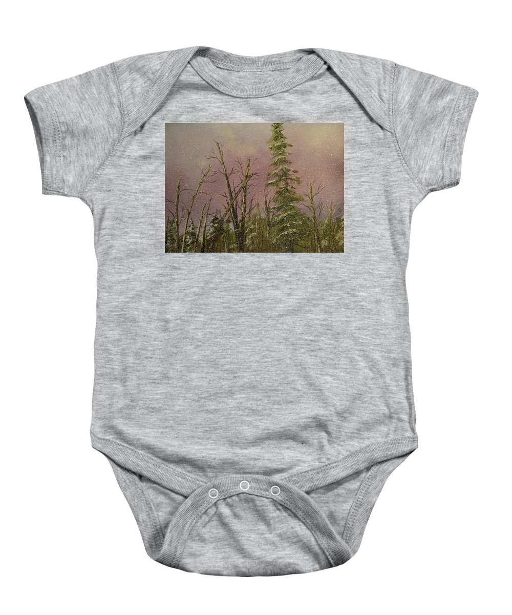 Snow Baby Onesie featuring the painting Snow by Joi Electa