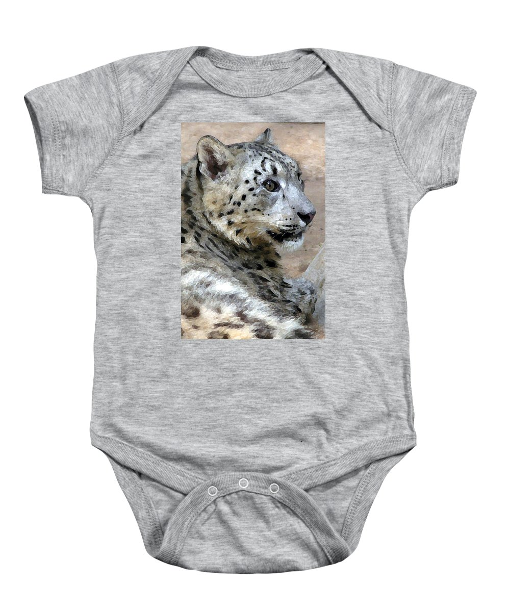 Cat Baby Onesie featuring the painting Snow Leopard by Stephen Anderson