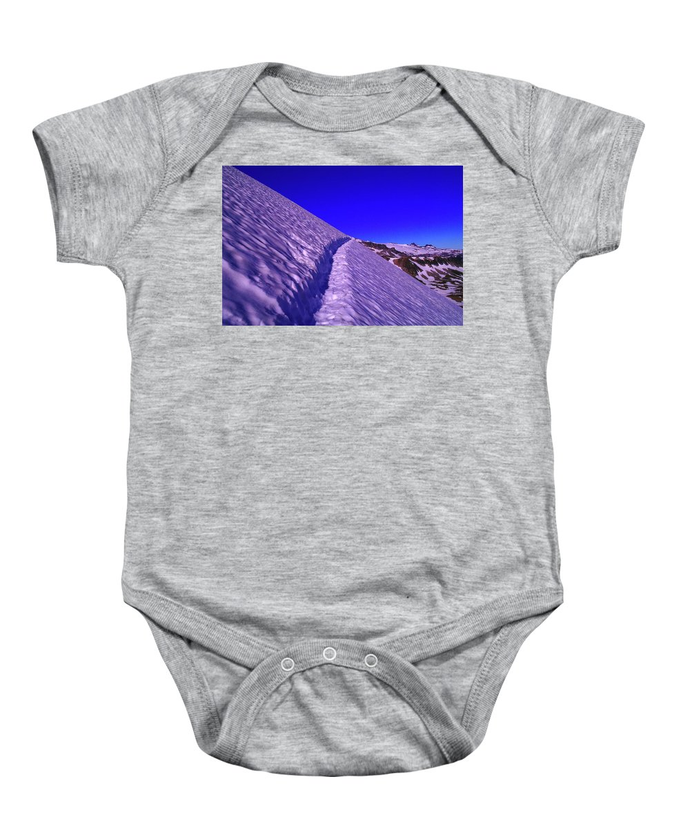 Sunrise Baby Onesie featuring the photograph Snow Trail by Jeff Swan
