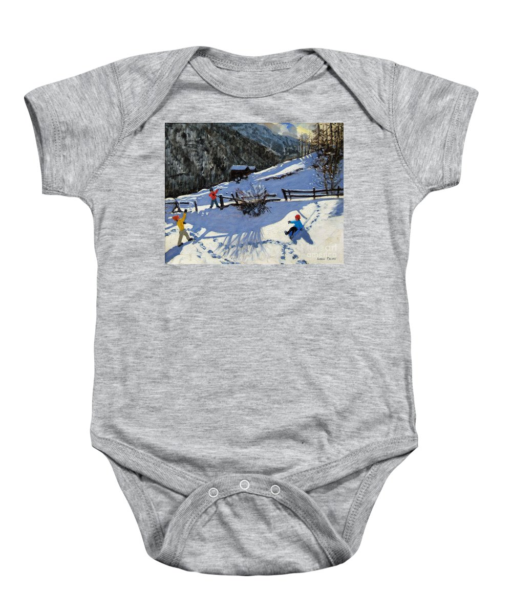 Zermatt Baby Onesie featuring the painting Snowballers by Andrew Macara