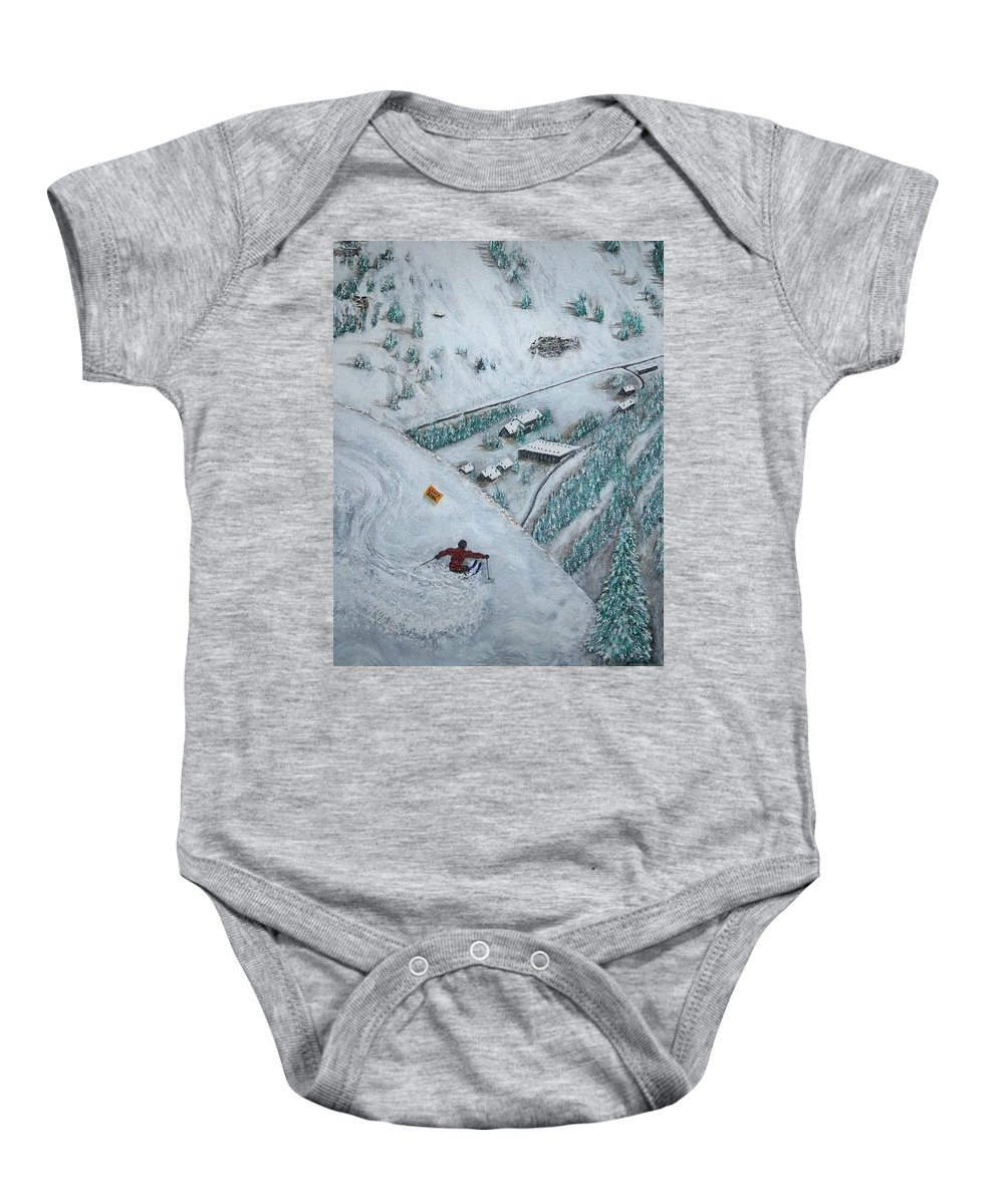 Ski Baby Onesie featuring the painting Snowbird Steeps by Michael Cuozzo