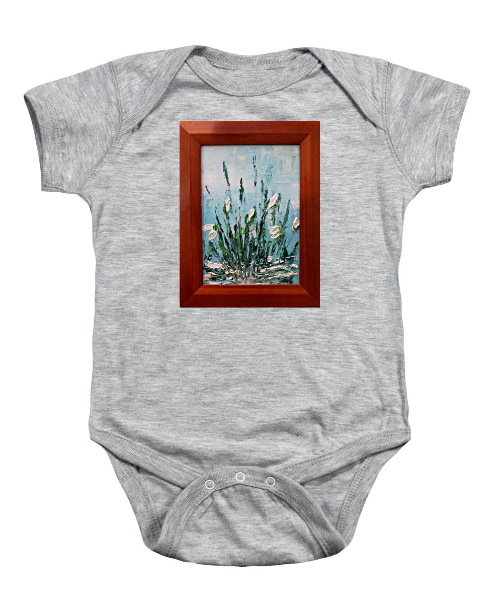 Snowdrops Spring Nature Flower Baby Onesie featuring the painting Snowdrops Spring by Denisa Olbojan