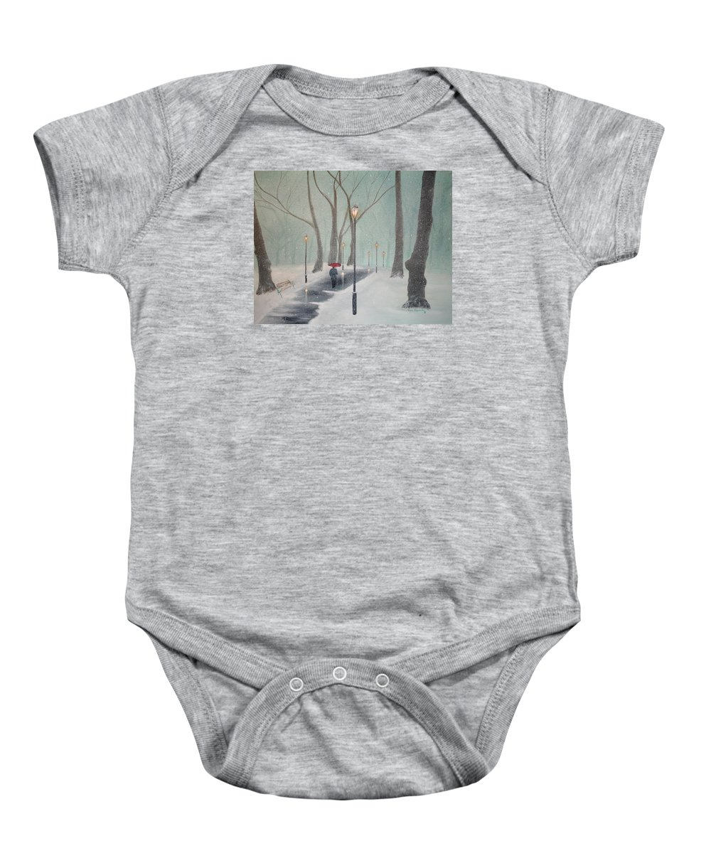 Snow Baby Onesie featuring the painting Snowfall In The Park by Ken Figurski