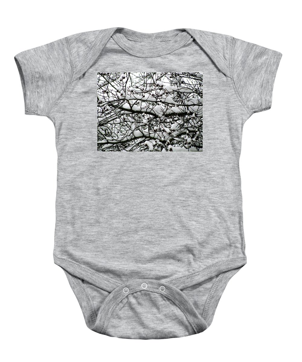 Foliage Baby Onesie featuring the photograph Snowfall On Branches by Deborah Crew-Johnson