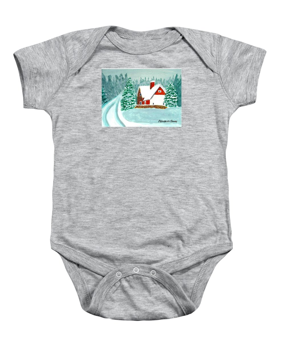 Cottage Baby Onesie featuring the painting Snowy Cottage by Philomena Dunne