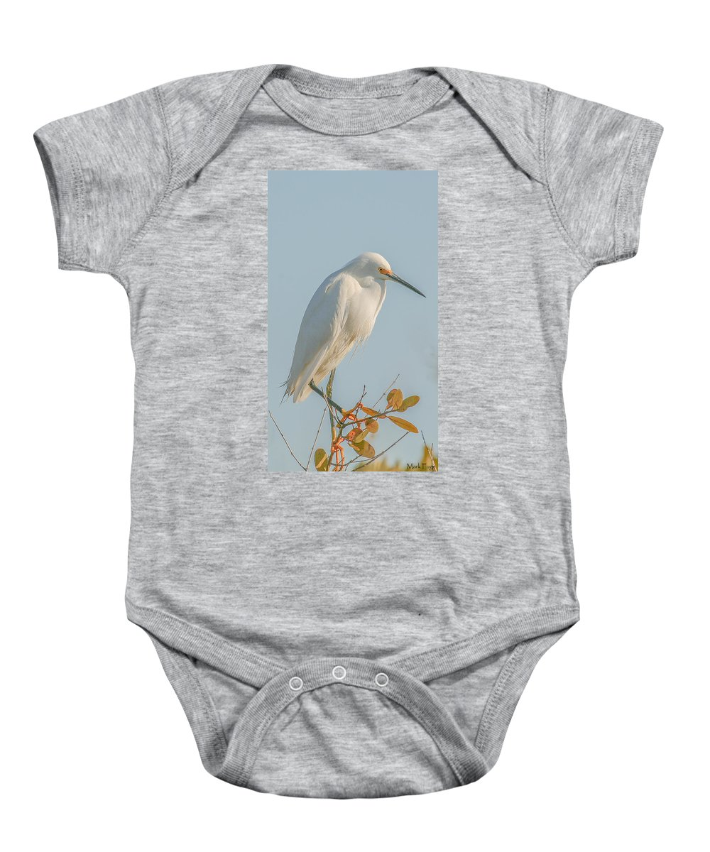 Florida Baby Onesie featuring the photograph Snowy Egret by Mark Fuge
