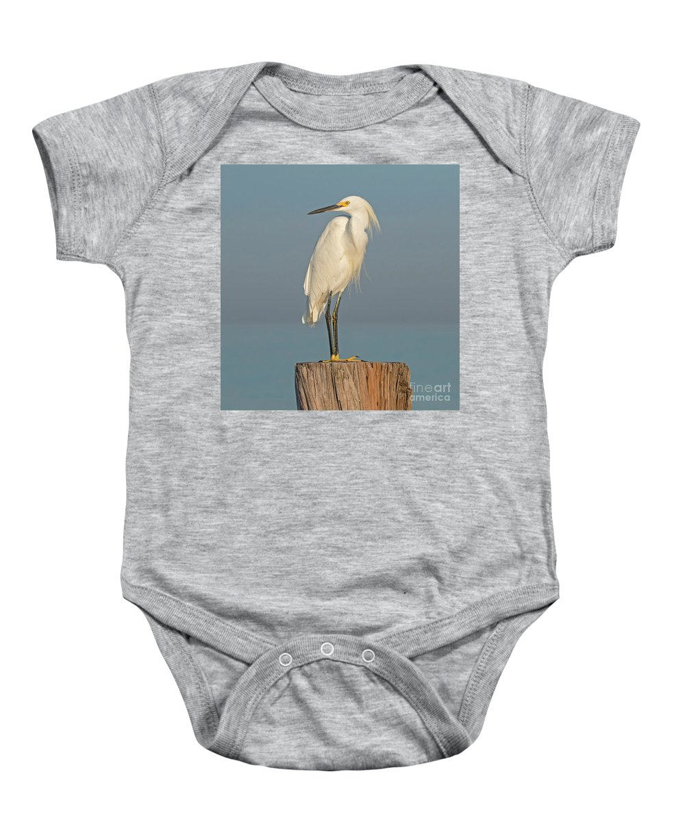Snowy Egret Baby Onesie featuring the photograph Snowy Egret by Sherry Butts