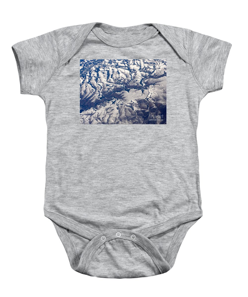 Aerial Baby Onesie featuring the photograph Snowy Landscape Aerial by Carol Groenen