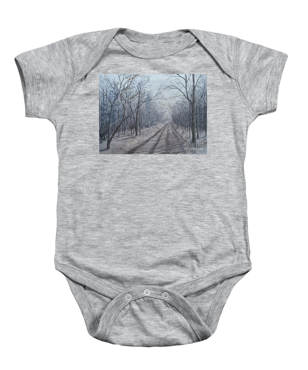 Landscape Baby Onesie featuring the painting Snowy Road At Dawn by J O Huppler