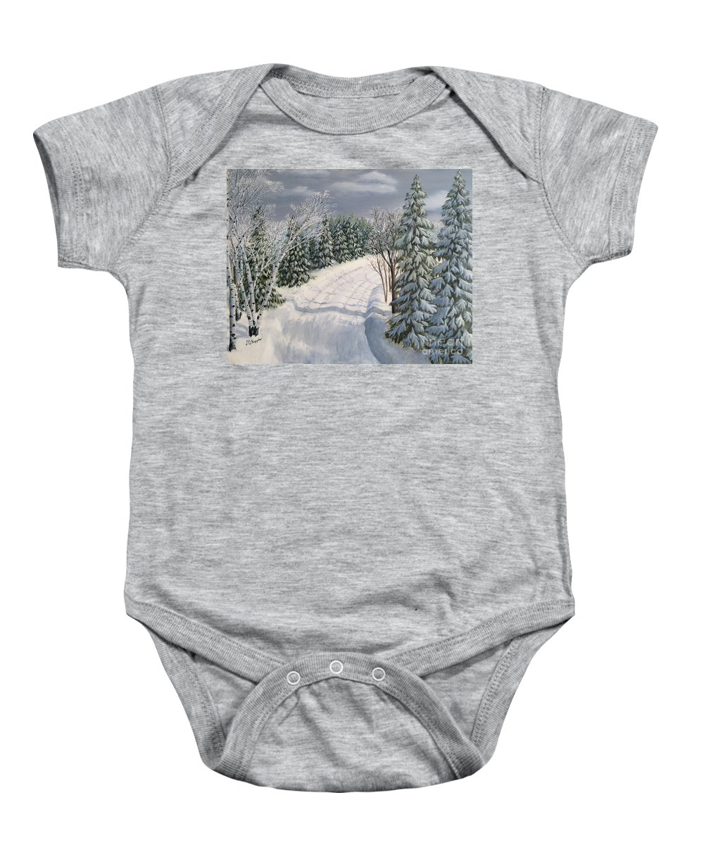 Landscape Baby Onesie featuring the painting Snowy Road by J O Huppler