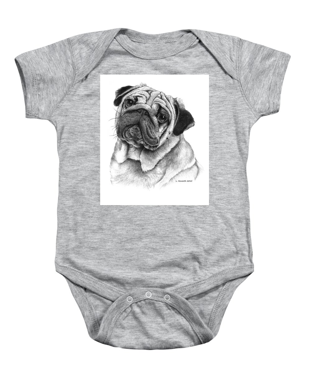 Pug Dog Baby Onesie featuring the drawing Snuggly Puggly by Louise Howarth