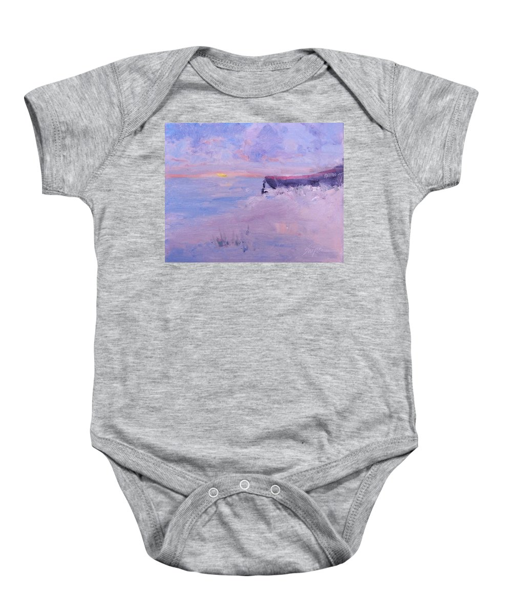 Boat Baby Onesie featuring the painting Soft Morning by Connie Snipes