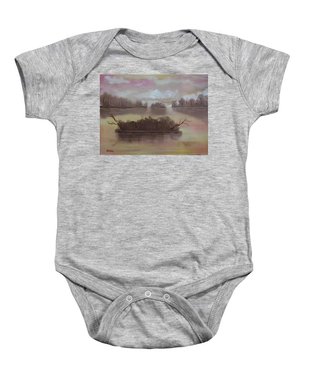 Landscape Baby Onesie featuring the painting Softly Spoken by Ervin Sloan