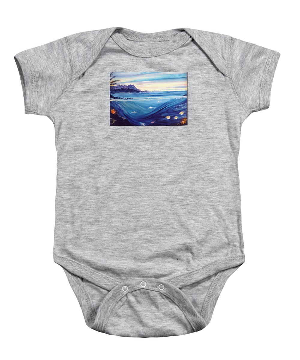 Islands Baby Onesie featuring the painting Sokehs Dawn by Dina Holland