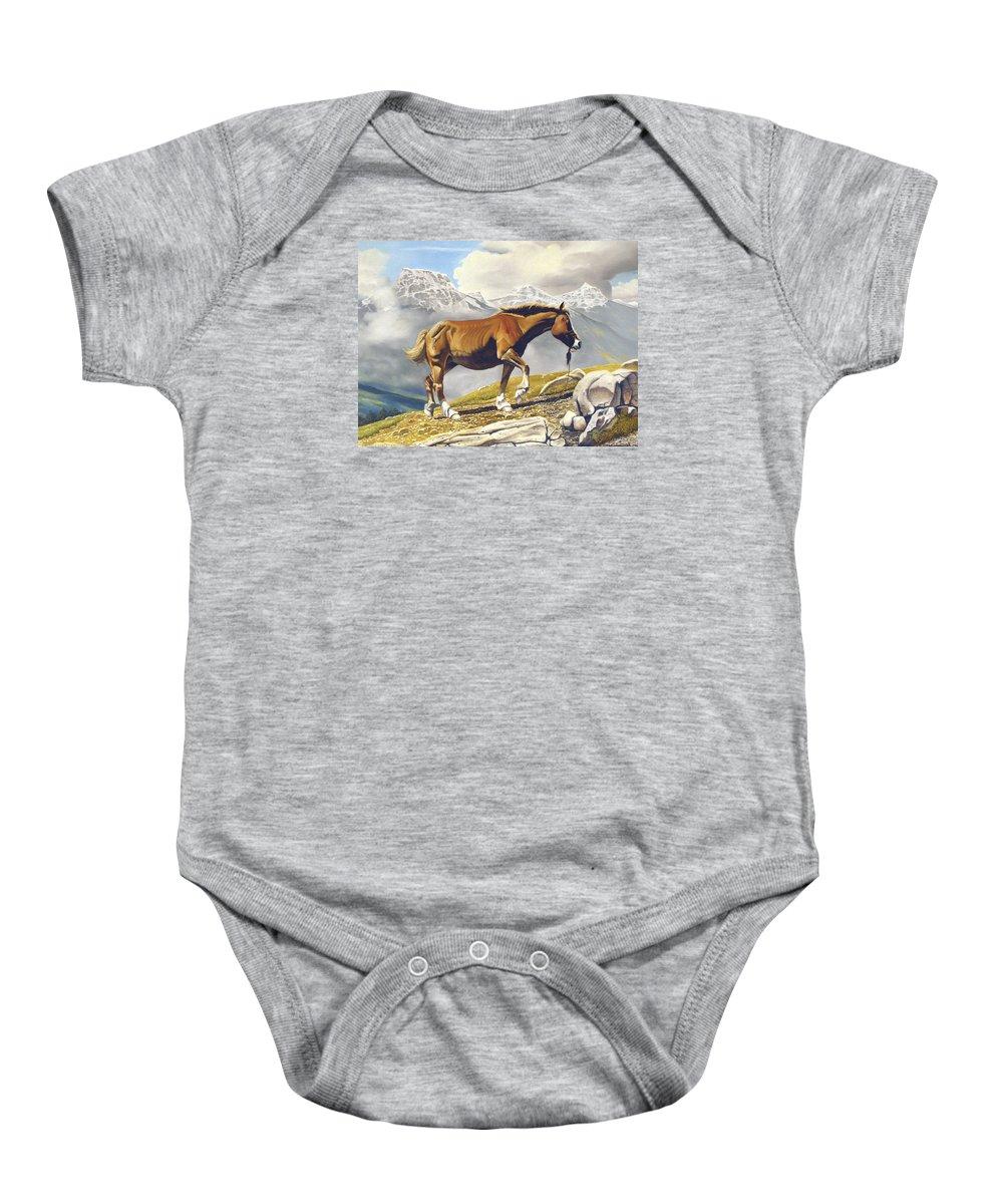 Horse Baby Onesie featuring the painting Sole Survivor by Marc Stewart