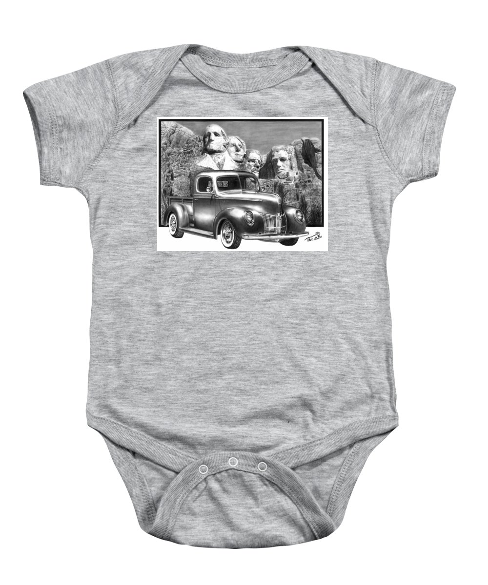 Solid As A Rock Baby Onesie featuring the drawing Solid As A Rock by Peter Piatt
