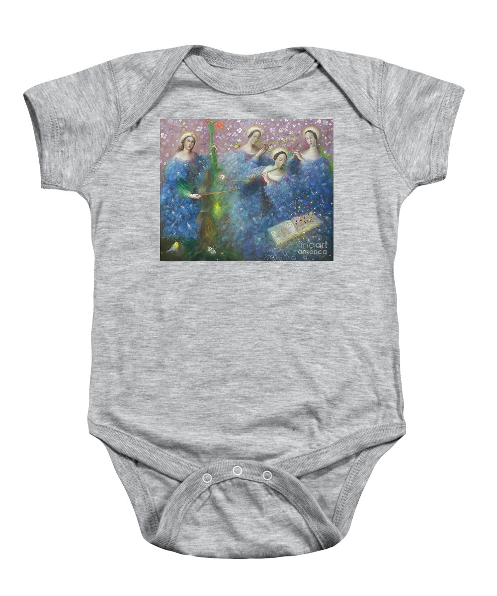 Song Baby Onesie featuring the painting Song Of The Goddess Natura by Annael Anelia Pavlova