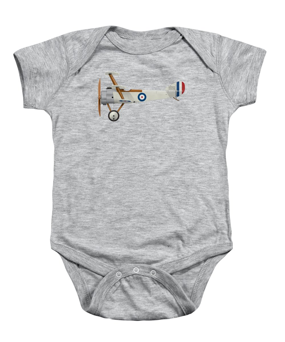 Sopwith Baby Onesie featuring the digital art Sopwith Triplane Prototype - Side Profile View by Ed Jackson