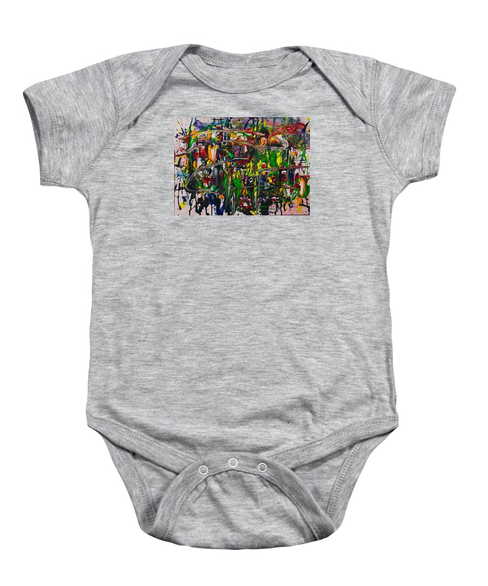 Where Souls Meet Their Destiny Baby Onesie featuring the mixed media Soul Arena by Jonas Sweetchuck Lundstrom