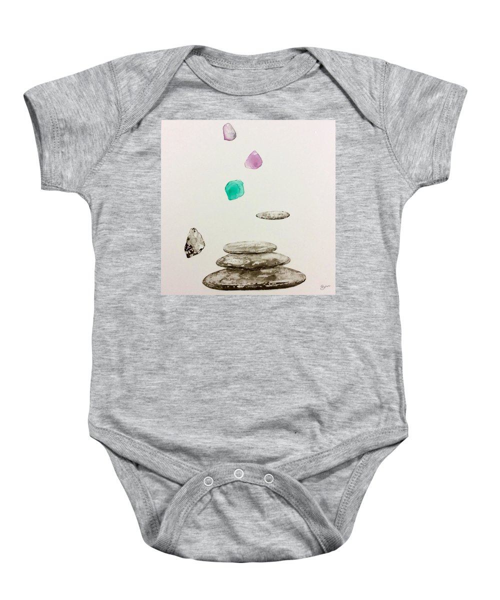 Flying Stones Baby Onesie featuring the painting Soul Of Stones by BREE France