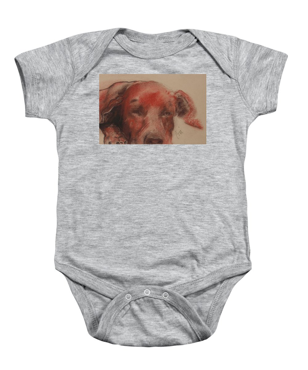 Pastel Baby Onesie featuring the drawing Soul Searcher by Cori Solomon