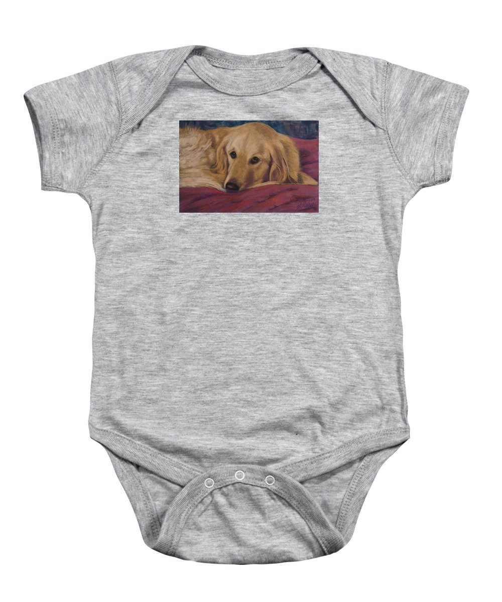 Dogs Baby Onesie featuring the painting Soulfull Eyes by Billie Colson