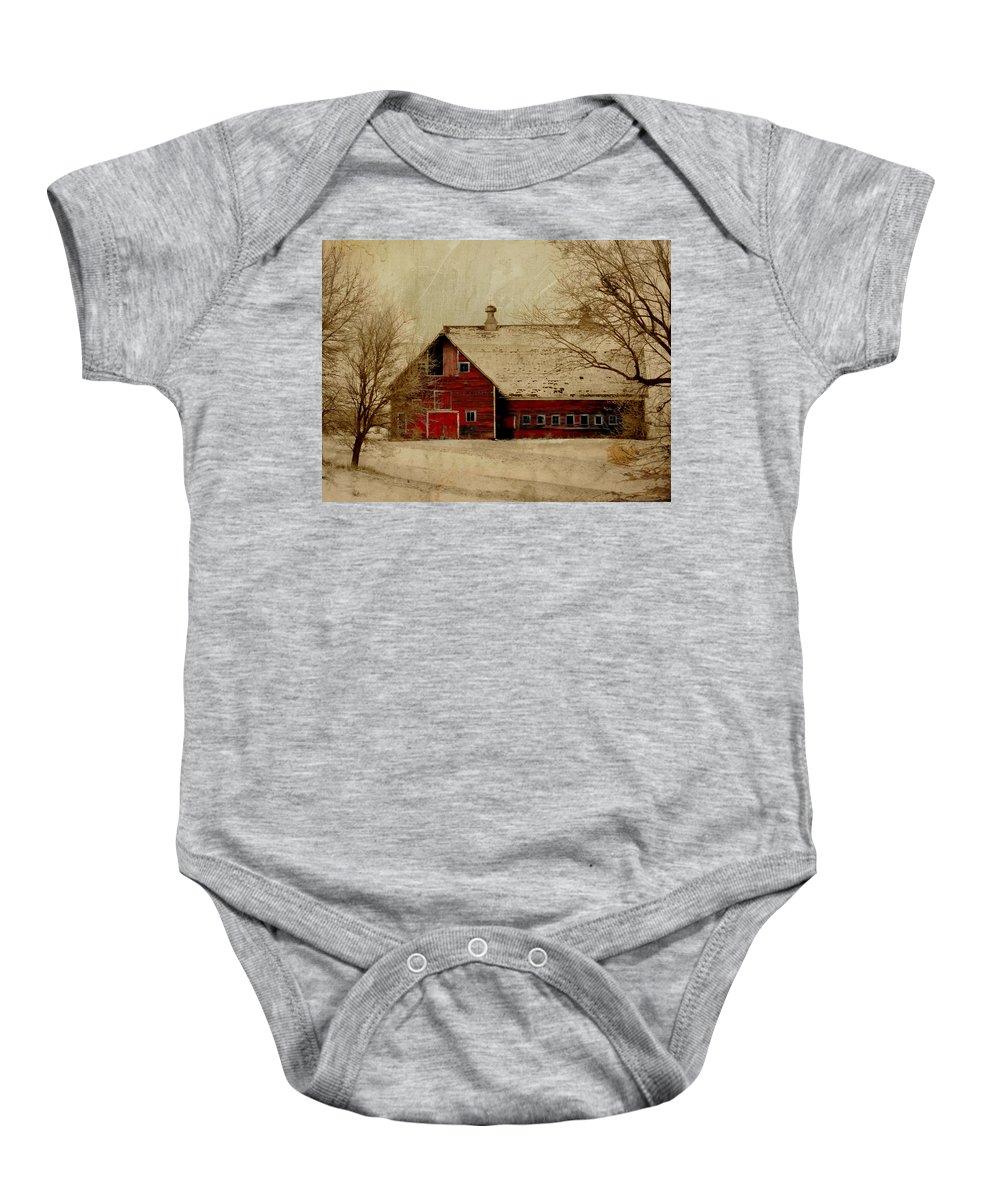 Red Baby Onesie featuring the digital art South Dakota Barn by Julie Hamilton