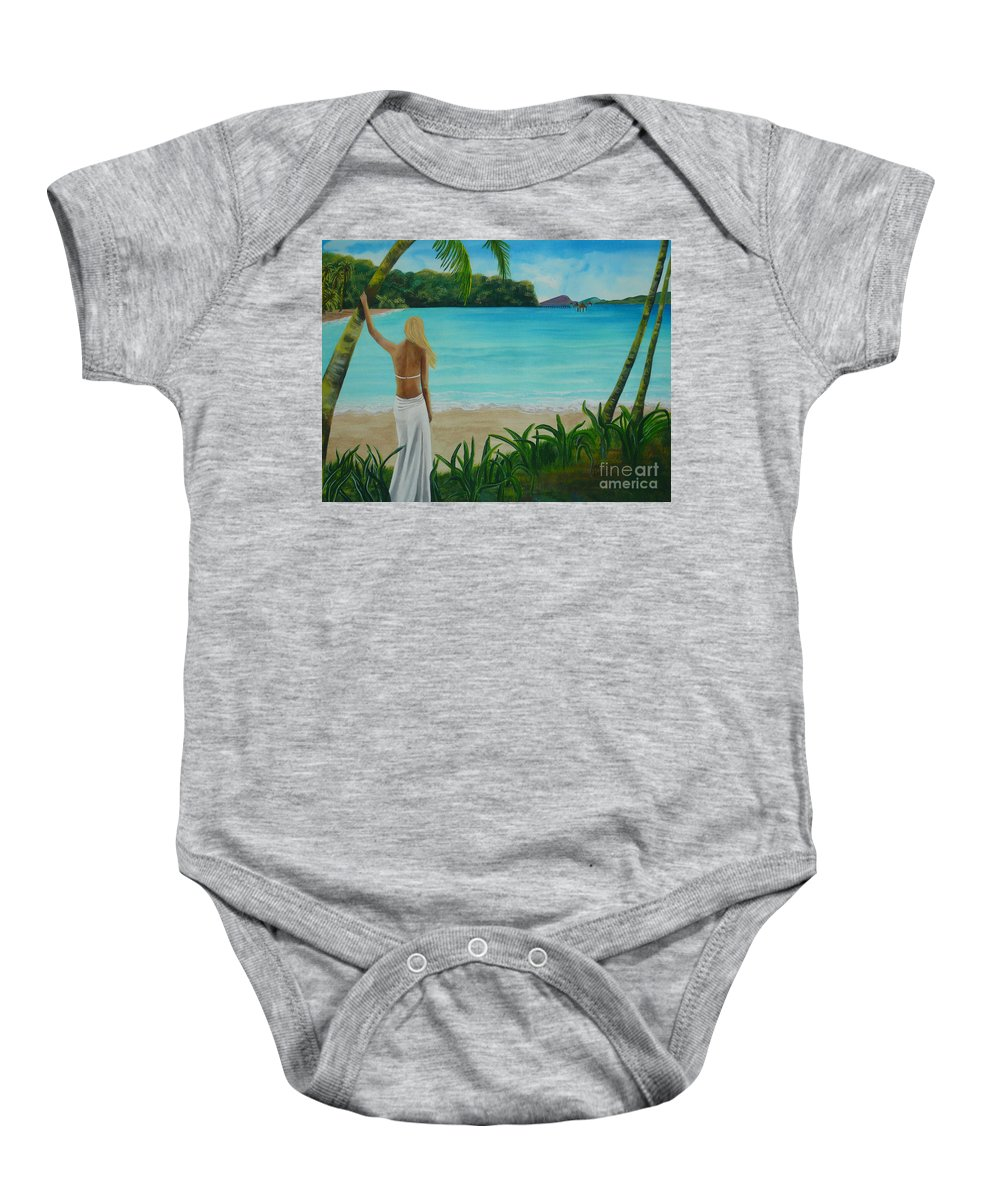 Tropical Baby Onesie featuring the painting South Pacific Dreamin by Kris Crollard