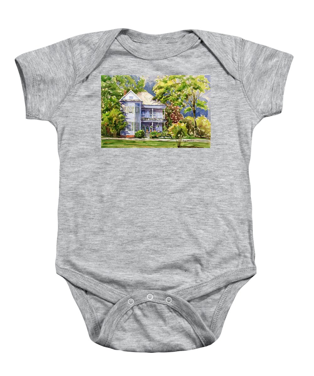 Old House Baby Onesie featuring the painting Southern Bell by Shirley Sykes Bracken