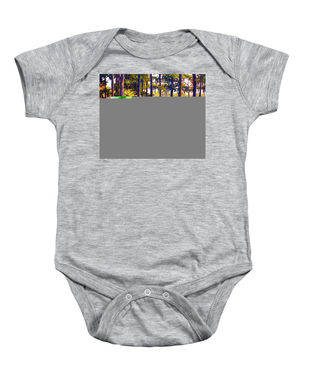 Marshes; Egrets; Low Country; Palmetto Trees Baby Onesie featuring the painting Southern Breeze by Ben Kiger