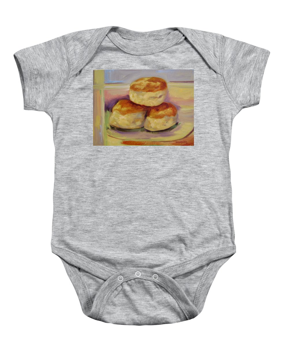 Biscuits Baby Onesie featuring the painting Southern Morning Fare by Ginger Concepcion