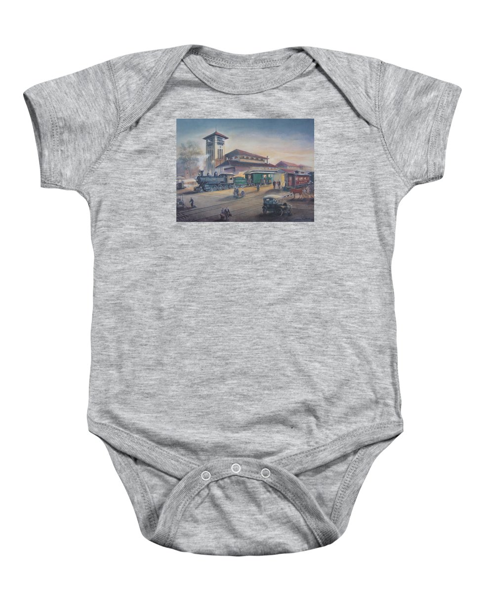 Charles Roy Smith Baby Onesie featuring the painting Southern Railway by Charles Roy Smith