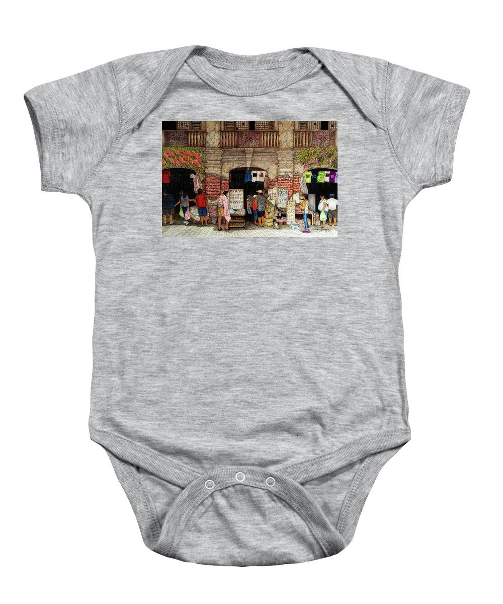 Vigan Baby Onesie featuring the painting Souvenir by Arnildo Danga