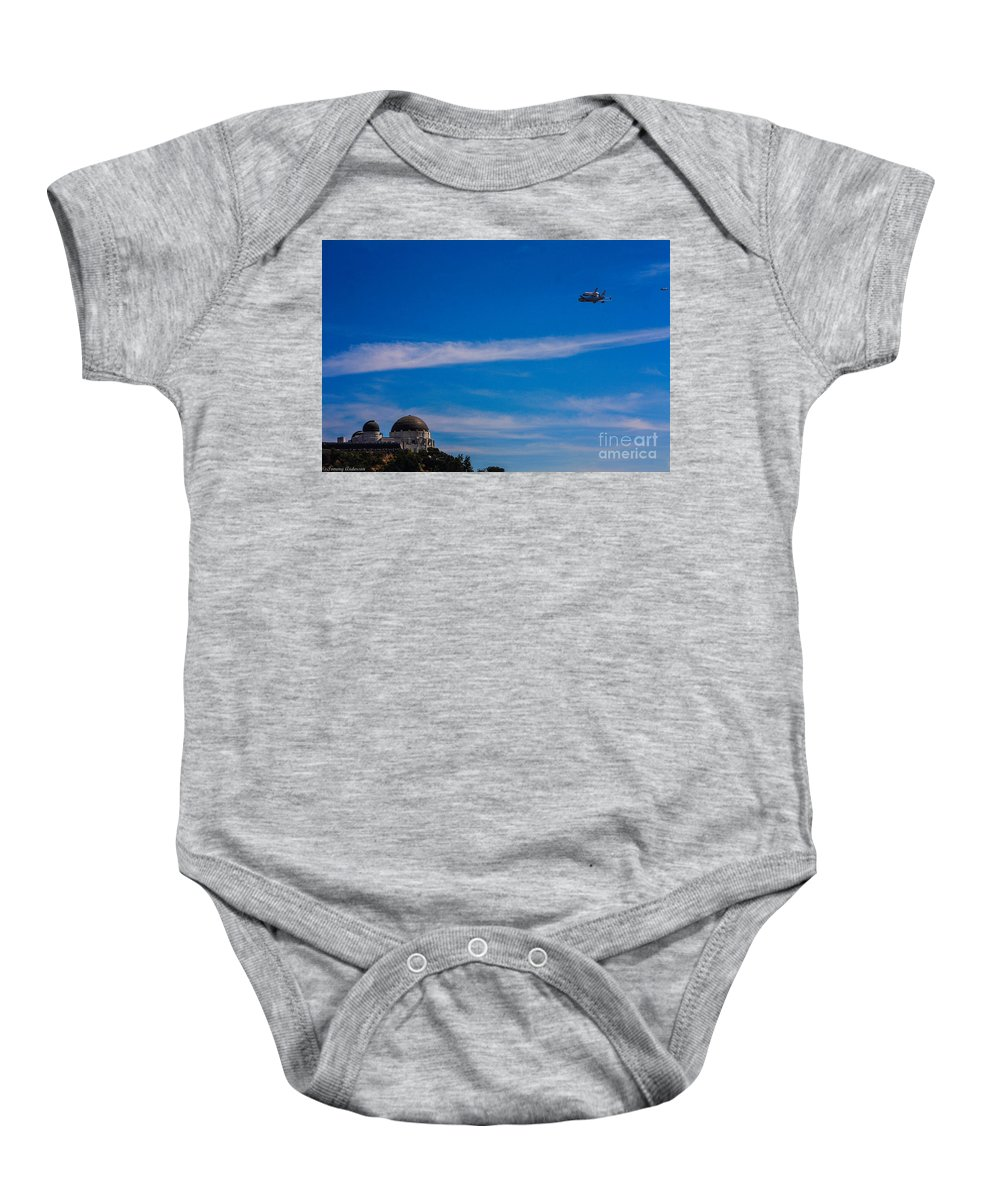 Space Shuttle Endevour Baby Onesie featuring the photograph Space Shuttle Over Griffith Observatory by Tommy Anderson