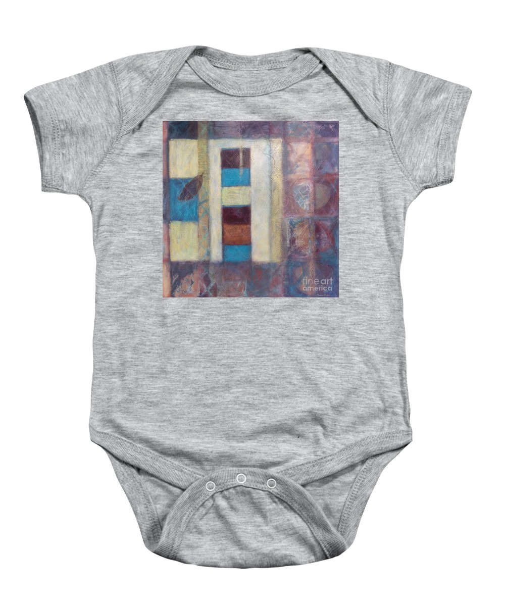 Spiritual Baby Onesie featuring the painting Spirit Of Gold - States Of Being by Kerryn Madsen- Pietsch