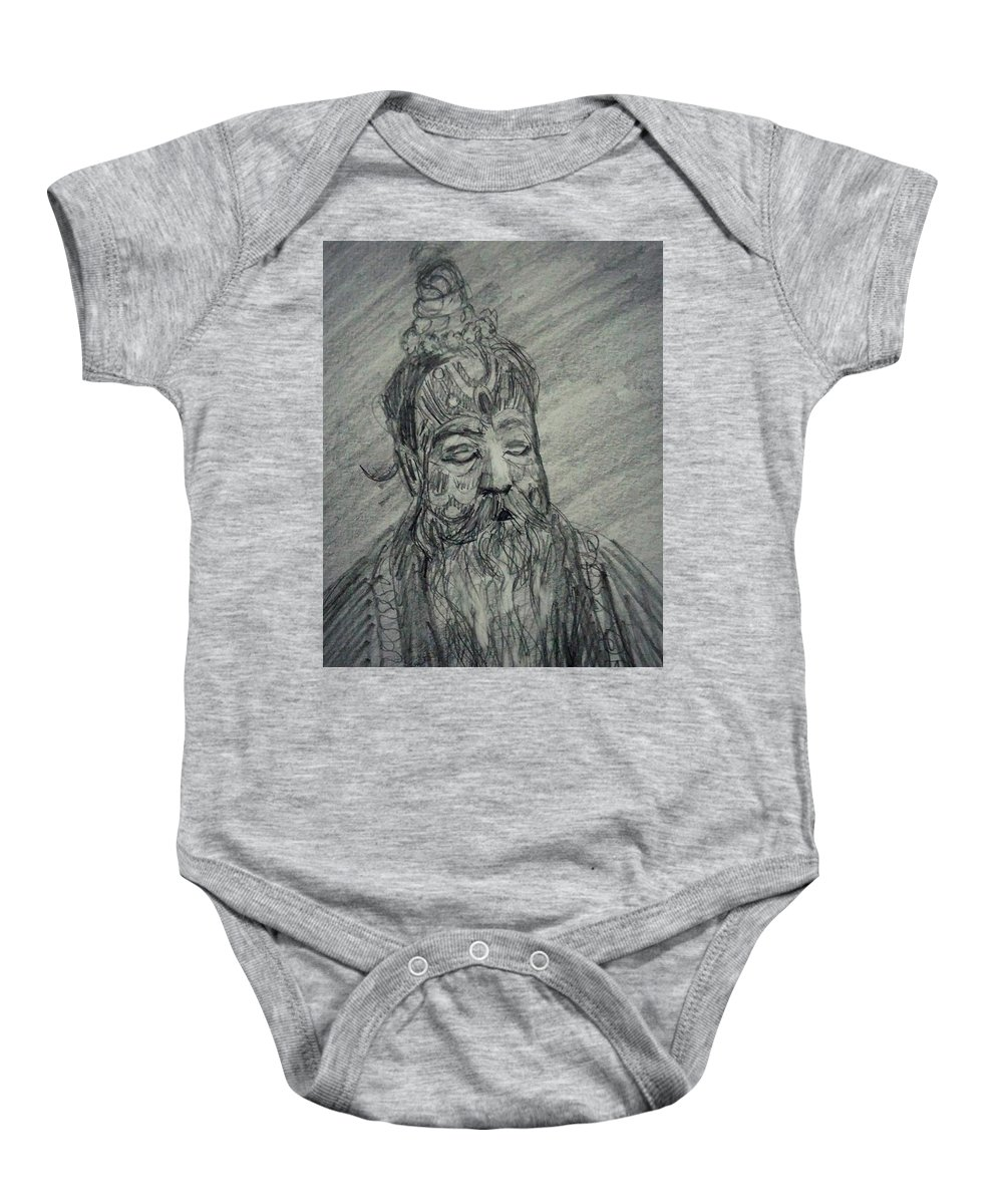 Sage Baby Onesie featuring the drawing Spiritual by Vineeth Menon