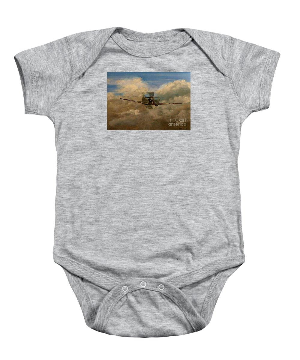 Spitfire Baby Onesie featuring the painting Spitfire Mk19 1945 Warbird - Dedicated To My Closest Friend Melody Lasola 08 08 83 - 25 10 09 by Richard John Holden RA