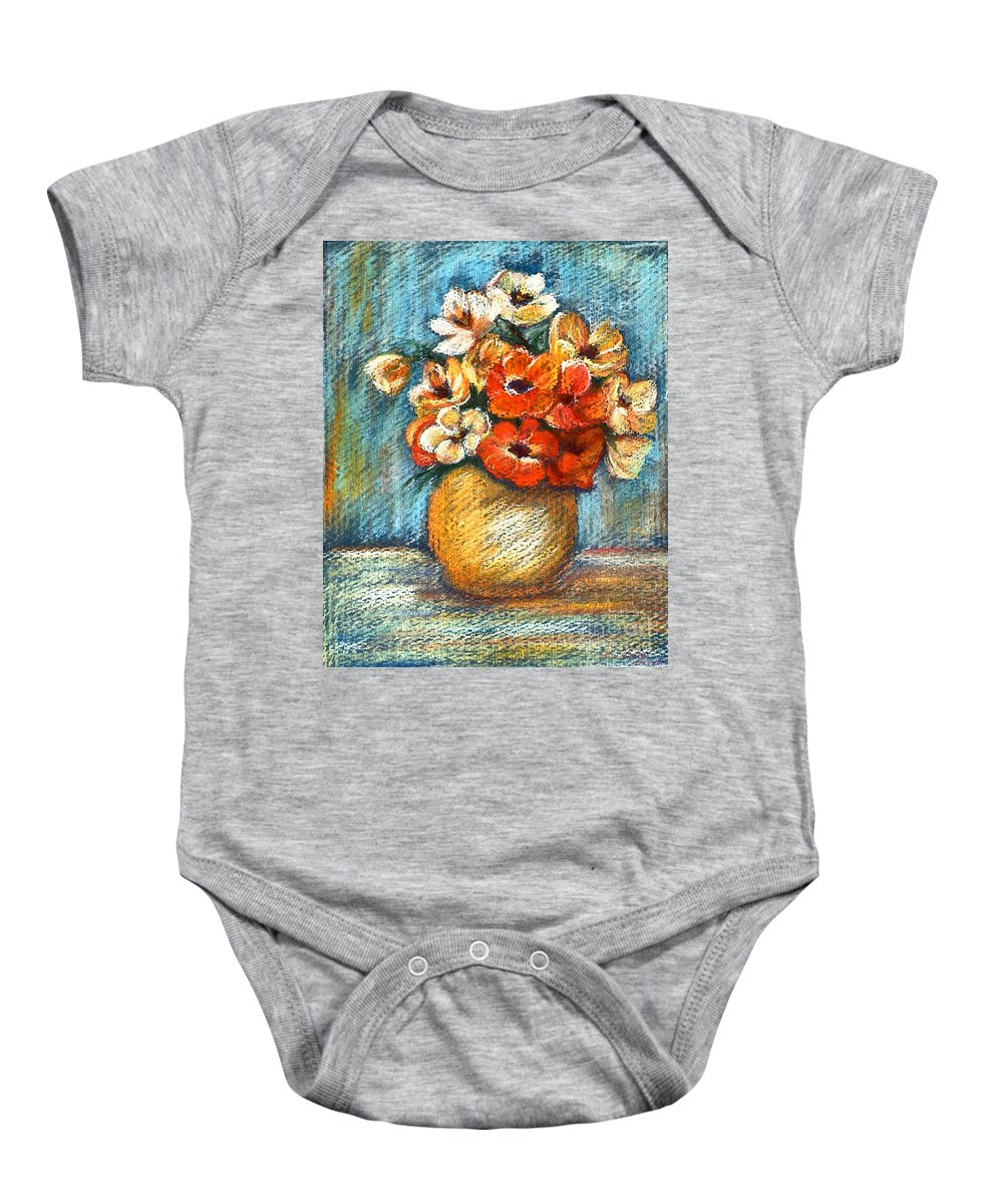 Stilllife Baby Onesie featuring the drawing Spring Bouquet by Portraits By NC